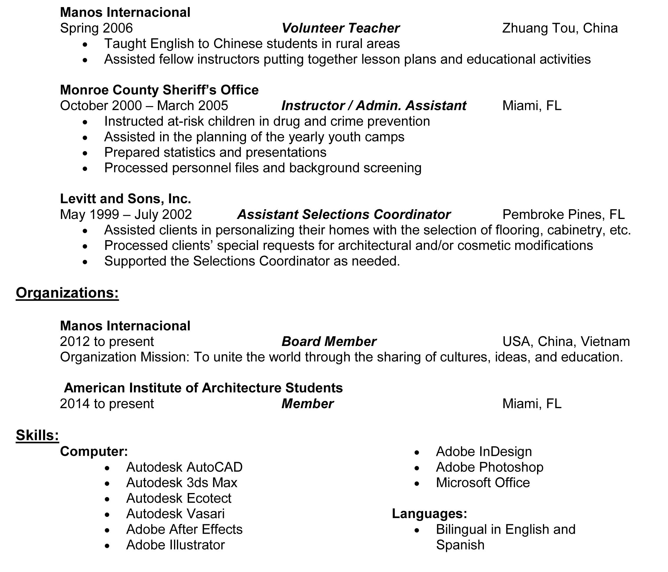 putting bilingual on resume cipanewsletter resume u2013 maría a peguero
